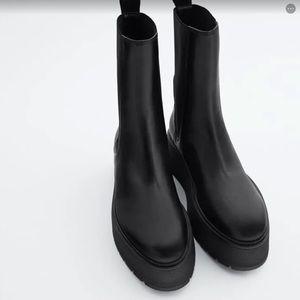 NWT Zara Black Leather Platform Chelsea Boots 8